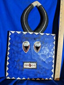 Vibrant Blue Baule Goli Ceremonial Mask Authentic Carved Wood African Art