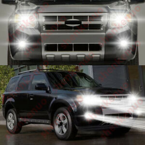 For Ford Escape 2008 2012 4pc 6000k Combo Led Headlight Fog Light Bulbs Kit