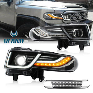 Pair Led Halo Projector Headlights W Grille Lamp For 07 2015 Toyota Fj Cruiser