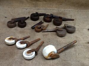 Vintage Lot Of 12 Cast Iron And Porcelain Swivel Casters Wheels Hardware