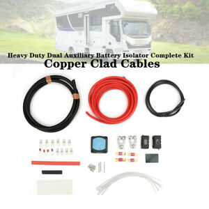 12v Heavy Duty Dual Auxiliary Battery Isolator Complete Kit Copper Cable For Rvs