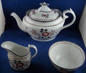 Superb Antique English Porcelain Tea Set Factory Xyz Porzellan Service England
