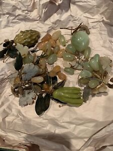 Antique Chinese Carved Jade Fruit Leaves