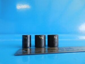 New Matco Tools 1 2 11 16 3 4 In Short 3 8 Dr Impact Sockets Lot Of 3