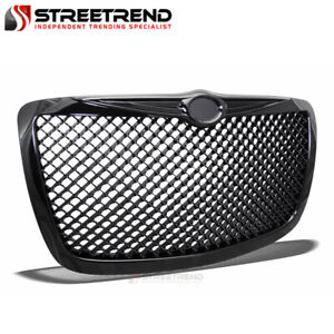 For 04 05 10 Chrysler 300 300c Glossy Black Mesh Front Hood Bumper Grill Grille