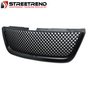 For 07 11 12 Gmc Acadia Glossy Blk Mesh Front Hood Bumper Grill Grille Guard Abs