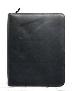 10 5 x13 Eddie Bauer Black Genuine Leather Zip Planner Paper Holder Portfolio