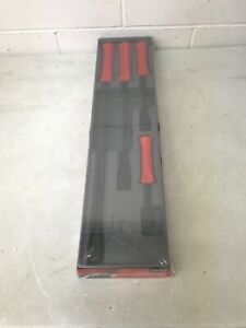 New Sealed Snap On Red 4 Piece Striking Pry Bar Set Spbs704ar