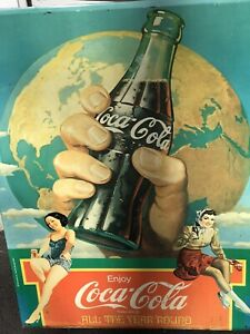 "1982 Coca - Cola  tin sign ""All The Year Round"" 2 women - good condition"
