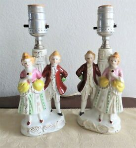 Rare Pair Of Antique German Victorian Lamps Both Work Dresden