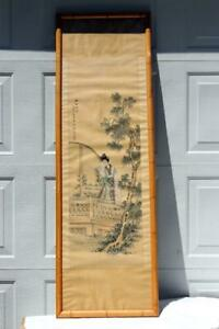 Antique Chinese Silk Scroll Painting Of Women Signed Framed
