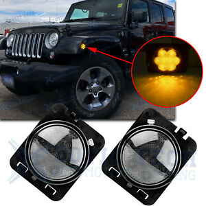 2x Front Fender Led Side Marker Light Smoke Lens For Jeep Wrangler Jk 2007 2018