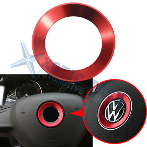 Red Steering Wheel Center Ring Emblem Trim Sticker For Vw Passat Jetta Golf Polo
