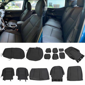 Black Front Rear Seat Covers Full Set For 2016 2021 Toyota Tacoma Double Cab