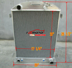 3row 62mm For 1932 Ford Hi Boy Hot Rod Chevy Engine V8 At Mt Aluminum Radiator