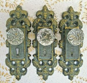 Vintage Style Cast Iron Door Plate With Acrylic Glass Knob Antique Teal Green