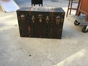 Antique Flat Top Steamer Trunk Chest With Leather Straps