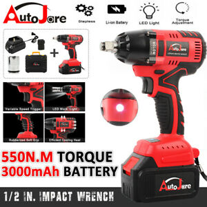1 2 brushless Electric Cordless Impact Wrench Driver Li ion Battery Tools 550nm
