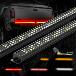 Aluminum Triple Led Tailgate Light Bar Amber Turn Signal For Jeep Truck Trailer