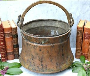 Antique French Farmhouse Large Copper Cauldron Hanging Kettle Pot