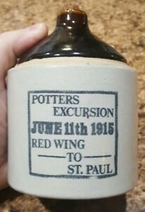 Rare Stoneware Crock Jug Potters Excursion June 11th 1915 Red Wing To St Paul