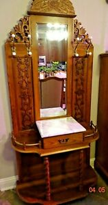 Oak Vintage Jacobean Style Hall Tree With Mirror Marble Top And Turned Legs