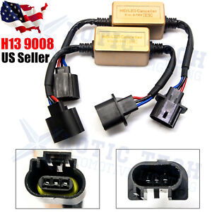 2x H13 9008 Led Headlight Canbus Decoder Adapter No Error Anti Flicker Resistor