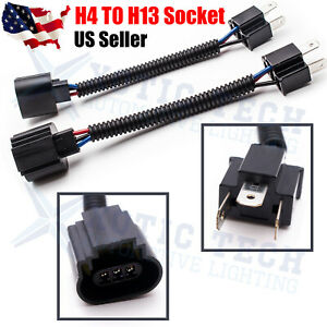 Pair H4 9003 Male To H13 9008 Female Headlight Conversion Pigtail Harness Socket