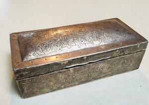Antique English Sterling Silver Cigarette Cigar Trinket Jewelry Case Box