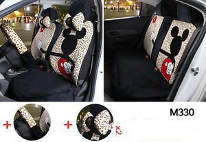 13pc Set Plus Cartoon Mickey Mouse Universal Car Seat Cover Leopard Print M330