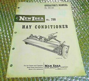 Vintage Operators Manual No Hc 151 New Idea No 750 Hay Conditioner
