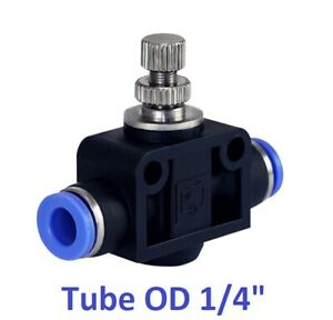 Pneumatic Air Flow Speed Control Valve Tube Od 1 4 Inch Push In Fitting 1 Piece