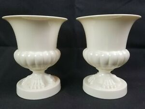 Rare Pair Antique Lenox Footed Porcelain Pots Urns Vases Green Mark