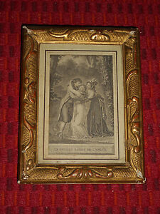 Antique Victorian Era Gold Gesso Picture Frame Reptile Snake Design French Print