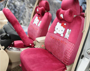 18pc Luxury Universal Hello Kitty Car Seat Covers Cushion Accessories Red 053l