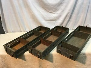 Vtg 3pc Industrial Metal Drawer Box Parts Bin Shelf Prim Display File Card Box
