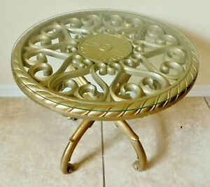 Antique Vtg 1969 Ornate Round 20 Gold Syroco Glass Top Side End Accent Table
