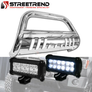 For 04 12 Chevy Colorado Canyon Stainless Bull Bar Guard W 36w Cree Led Light