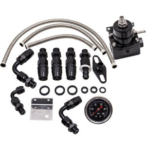 Universal 0 100 Psi Adjustable Fuel Pressure Regulator Kit W Gauge Black