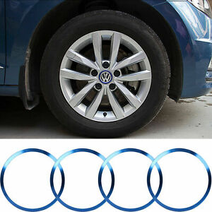 Blue Aluminum Wheel Rim Center Logo Hub Caps Ring Cover For Vw Jetta 1996 2019