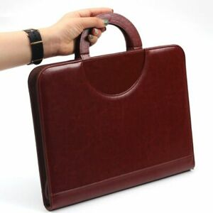 Document Bag Folder Pu Leather Zipped Ring Binder Conference Business Briefcase