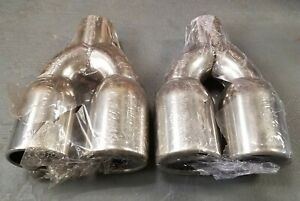 Lxp Stainless Steel Exhaust Dual Tip 2 25 Inlet Dual Outlet 3 5 10 Long