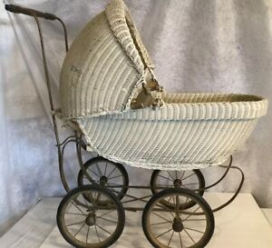 Baby Doll Carriage 32 X 30 X 16 White Wicker Vintage