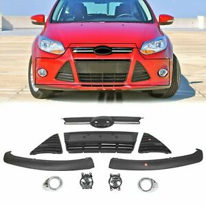 For 2012 2014 Ford Focus Complete Front Bumper Grill Cover Assembly Fog Lights
