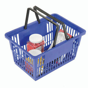 Blue Plastic Shopping Basket With Plastic Handle Large 19 3 8 l X 13 1 4 w X