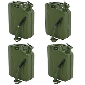 4x Jerry Can 20l Gas Fuel Steel Tank Emergency Caddy Army Military 5 Gallon