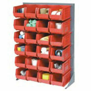 Louvered Bin Rack With 58 Red Stacking Bins 35 w X 15 d X 50 h