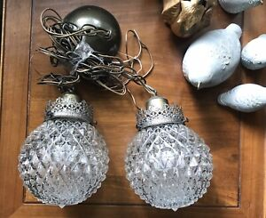 Mid Century Hollywood Regency Pair Light Lamp Double Swag Hanging Pendant Retro