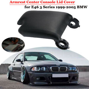 Black Leather Armrest Center Console Lid Cover Storage Box For Bmw E46 1999 04