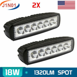 2x 18w 6inch Spot Led Work Light Bar Driving Lamp 4wd Vehicle Ute Offroad Atv